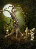Monster tree and skulls — Stock Photo