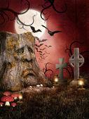 诡异公墓与蝙蝠 — 图库照片