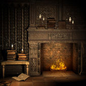 Vintage fireplace with books — Stock Photo