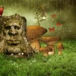 Enchanted tree with mushrooms — Stock Photo #13409894
