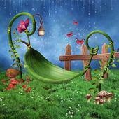 Fantasy leaf hammock — Stock Photo