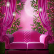 Pink garden with a sofa — Stock Photo #13479276