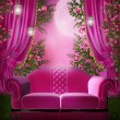 Pink garden with a sofa — Stock Photo