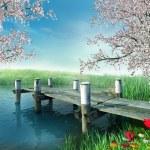 Постер, плакат: River with a dock