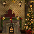 Christmas room with golden decorations — Stock Photo #13526250