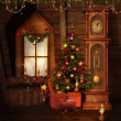 Old Christmas room — Stock Photo