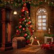 Christmas room with toys — Stockfoto