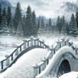 Frozen lake with a bridge — Stock Photo