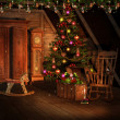 Stock Photo: Attic with Christmas decorations