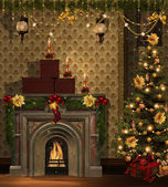 Christmas room with golden decorations — Stock Photo
