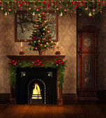 Vintage room with Christmas decorations — Stock Photo