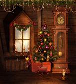 Old Christmas room — Stock Photo