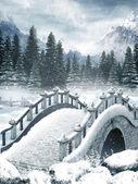 Frozen lake with a bridge — Stock Photo