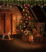 Attic with Christmas decorations — Stock Photo
