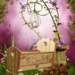 Fantasy cradle with butterflies — Photo