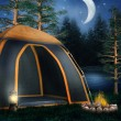 Camping tent and a bonfire — Stockfoto