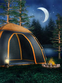 Camping tent and a bonfire — Stock Photo