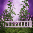 Purple garden with a fence — Stock Photo