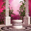 Stock Photo: Pink rose garden with columns