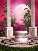 Rose roseraie avec colonnes — Photo