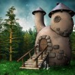 Постер, плакат: Gnome cottage in a green forest