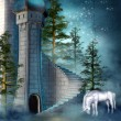 Fantasy tower with a unicorn — Stock Photo #13722114