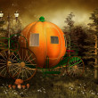 Pumpkin carriage in a forest — Stock Photo