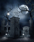 Night at the cemetery — Stock Photo