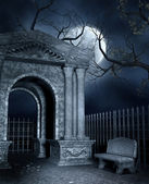 Mausoleum with a bench — Stock Photo