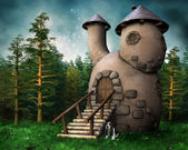 Gnome cottage in a green forest — Stock Photo