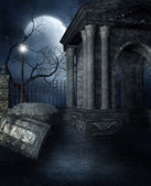 Old crypt in a gothic graveyard — Stock Photo
