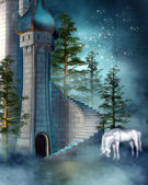 Fantasy tower with a unicorn — 图库照片