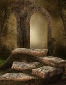Ruined stone shrine — Stock Photo