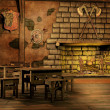 Fantasy tavern with a fireplace — Stock Photo