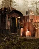 Magic tent and cart — Stock Photo
