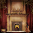 Old fireplace with a violin — Stock Photo #13895772