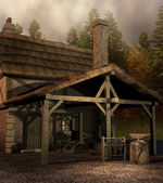 Medieval blacksmith house — Stock Photo