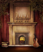 Old fireplace with a violin — Stock Photo