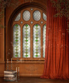 Wooden window with curtains — Stock Photo