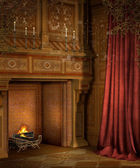 Retro fireplace with curtains — Stock Photo