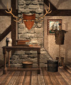 Medieval room with old objects — Stock Photo