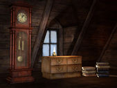 Old attic with a clock — Stock Photo