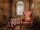 Old room with vintage toys — Stock Photo