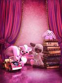 与玩具和书籍的粉红房间 — 图库照片