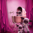 Royalty-Free Stock Photo: Pink room with plush toys