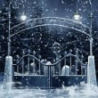 Cemetery gate with snow — Stock Photo