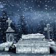 Winter night at a cemetery — Foto de Stock