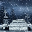 Winter night at a cemetery — Stock fotografie