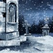 Old cemetery with snow — Stock Photo