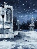 Kar ile eski mezarlığı — Stok fotoğraf